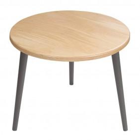 Jasnobrązowy stolik ze sklejki, o średnicy 60 cm wys. 54 cm Freakexpo