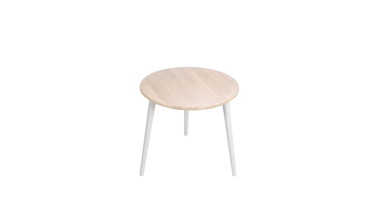 Dębowy stolik o średnicy 60 cm wys. 54 cm Scandi White