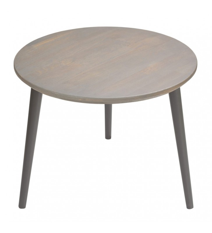 Dębowy stolik o średnicy 60 cm wys. 54 cm Scandi Gray