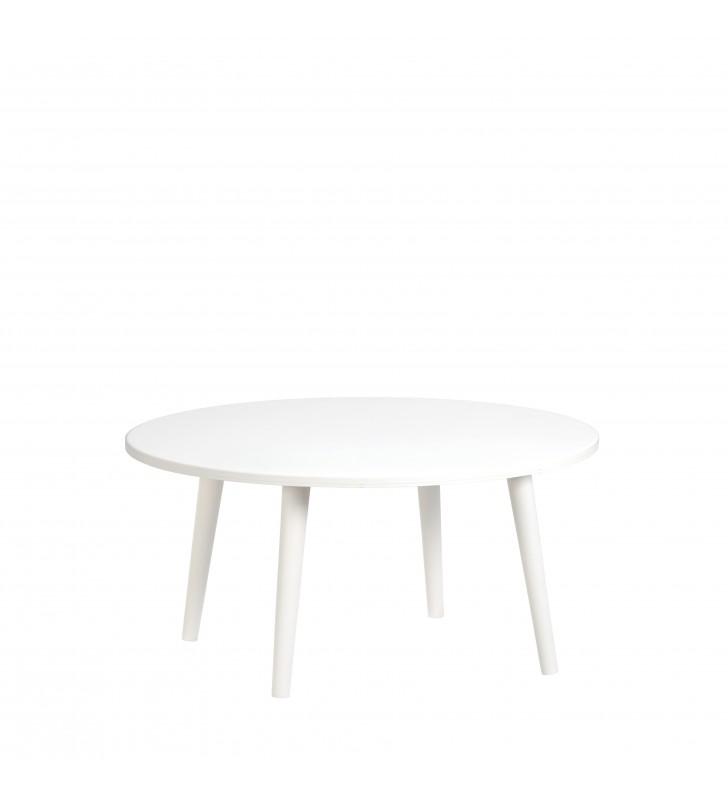 Biały stolik ze sklejki o średnicy 70 cm i wys. 34-54 cm Crystal White