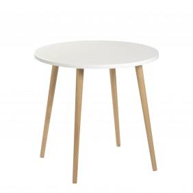 Biały stół ze sklejki o średnicy 70 cm wys. 67-75 cm Crystal White