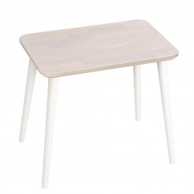 Dębowy, prostokątny stolik (40x60 cm) wys. 54 cm Scandi White