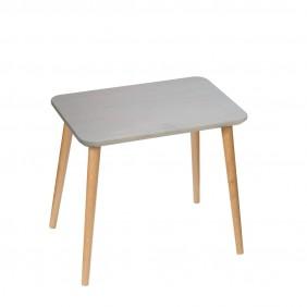 Dębowy, prostokątny stolik (40x60 cm) wys. 54 cm Scandi Grey