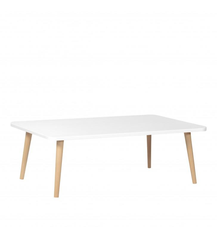 Biała, prostokątna ława (60x100 cm) wys. 34 - 54 cm Crystal White