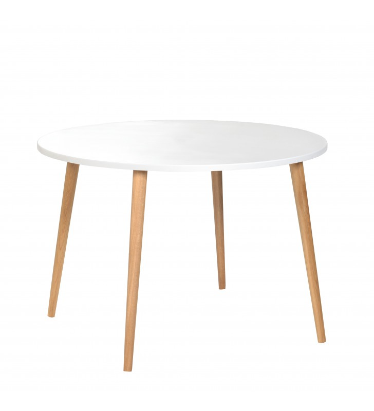 Biały, okrągły stół o średnicy 110 cm i wys. 75 cm Crystal White