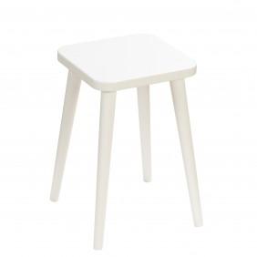 Biały taboret z kwadratowym siedziskiem 30x30 cm i wys. 54 cm Crystal White