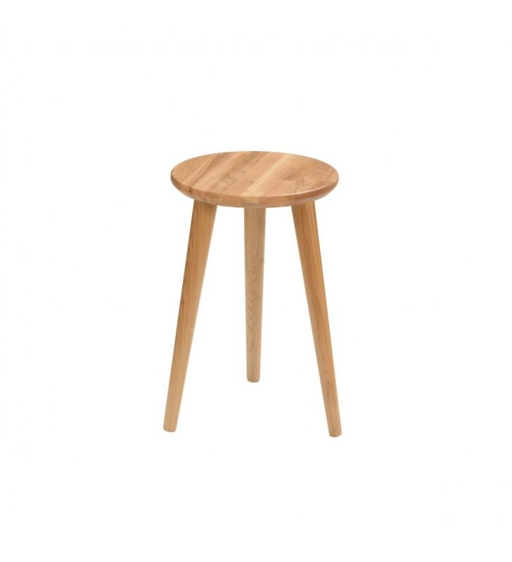 Dębowy taboret z okrągłym siedziskiem o średnicy 30 cm i wys. 54 cm Modern Oak