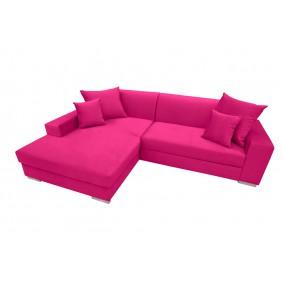 Różowy narożnik z funkcją spania i pojemnikiem na pościel KN24c2310