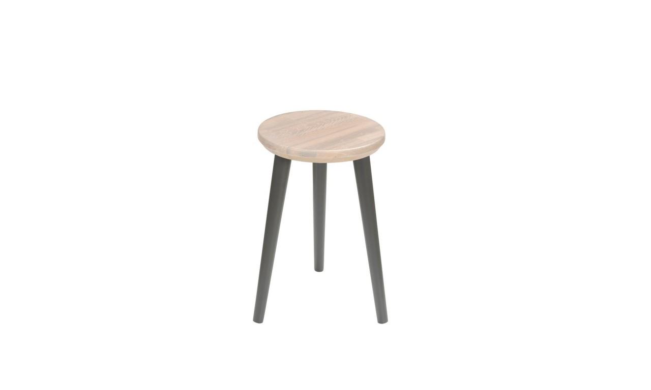 Dębowy taboret z okrągłym siedziskiem o średnicy 30 cm i wys. 54 cm Scandi White