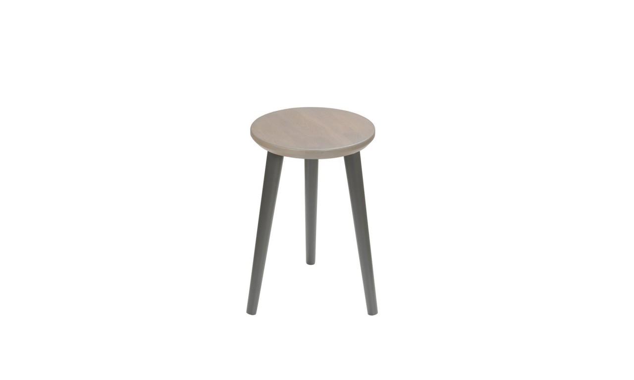 Dębowy taboret z okrągłym siedziskiem o średnicy 30 cm i wys. 54 cm Scandi Gray