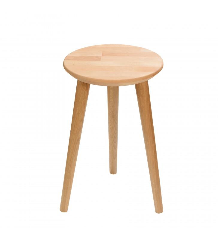 Bukowy taboret z okrągłym siedziskiem o średnicy 30 cm i wys. 54 cm Natural