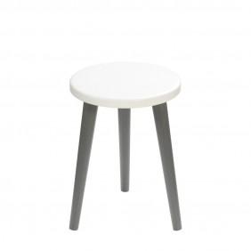 Biały taboret z okrągłym siedziskiem o średnicy 30 cm i wys. 54 cm Crystal White