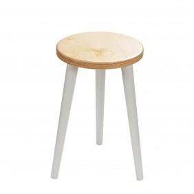Bukowy taboret z okrągłym siedziskiem o średnicy 30 cm i wys. 54 cm Freakexpo