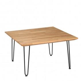 Stolik kawowy dębowy ze stalowymi nóżkami, 88x88 cm, wys. 49 cm Iron Oak