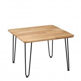 Stolik kawowy dębowy ze stalowymi nóżkami, 70x70 cm, wys. 47,5 cm Iron Oak