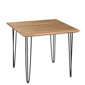 Stół dębowy ze stalowymi nóżkami, 88x88 cm, wys. 75 cm Iron Oak
