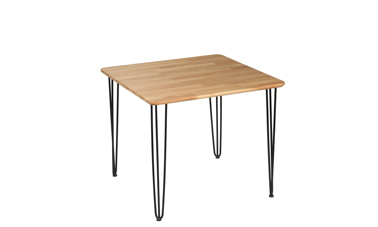 Stół dębowy ze stalowymi nóżkami, 88x88 cm, wys. 73,5 cm Iron Oak