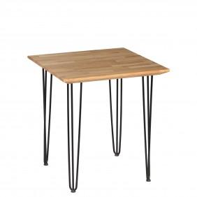 Stół dębowy ze stalowymi nóżkami, 70x70 cm, wys. 75 cm Iron Oak