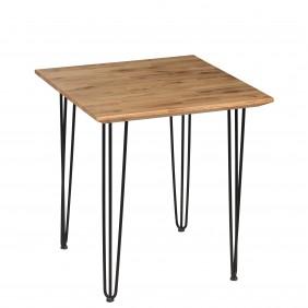 Stół dębowy (rustyklany) ze stalowymi nóżkami, 70x70 cm, wys. 75 cm Iron Oak
