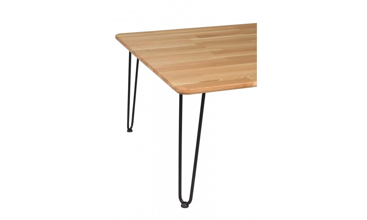Stolik kawowy dębowy ze stalowymi nóżkami, 88x88 cm, wys. 47,5 cm Iron Oak