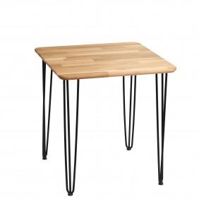 Stół dębowy ze stalowymi nóżkami, 70x70 cm, wys. 73,5 cm Iron Oak