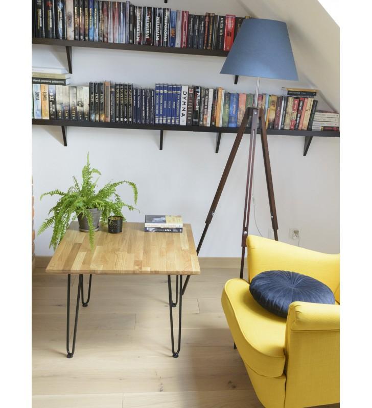 Stolik kawowy dębowy ze stalowymi nóżkami, 70x70 cm, wys. 49 cm Iron Oak