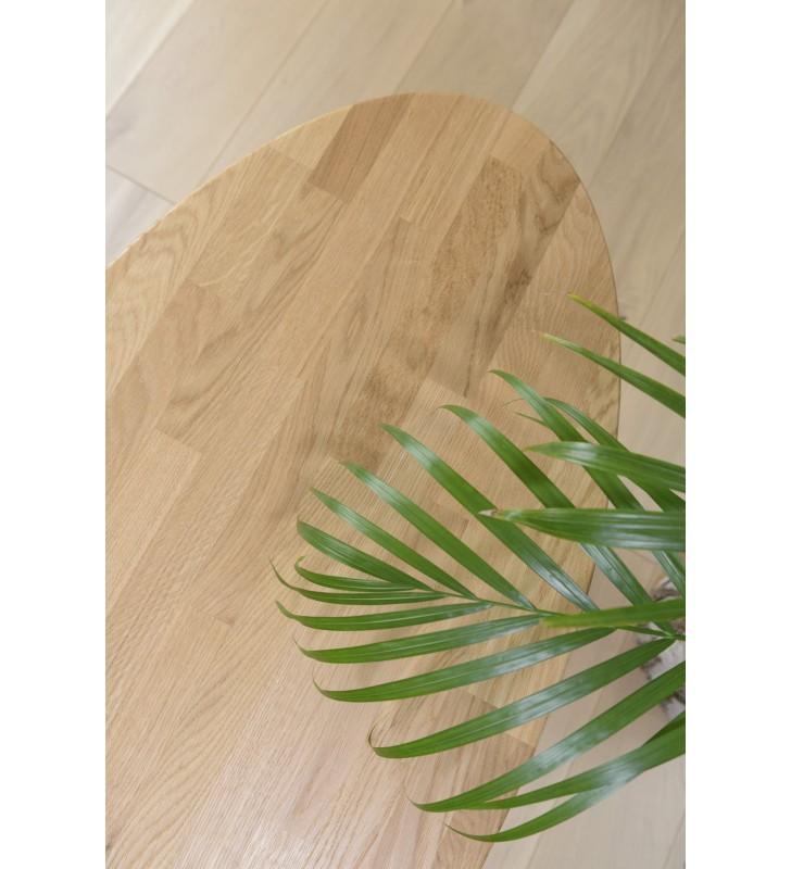 Dębowa, owalna ława (48x97,5 cm) wys. 34 - 54 cm Modern Oak