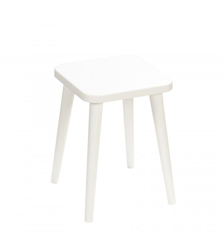 Biały taboret z kwadratowym siedziskiem 30x30 cm i wys. 41 cm Snow White