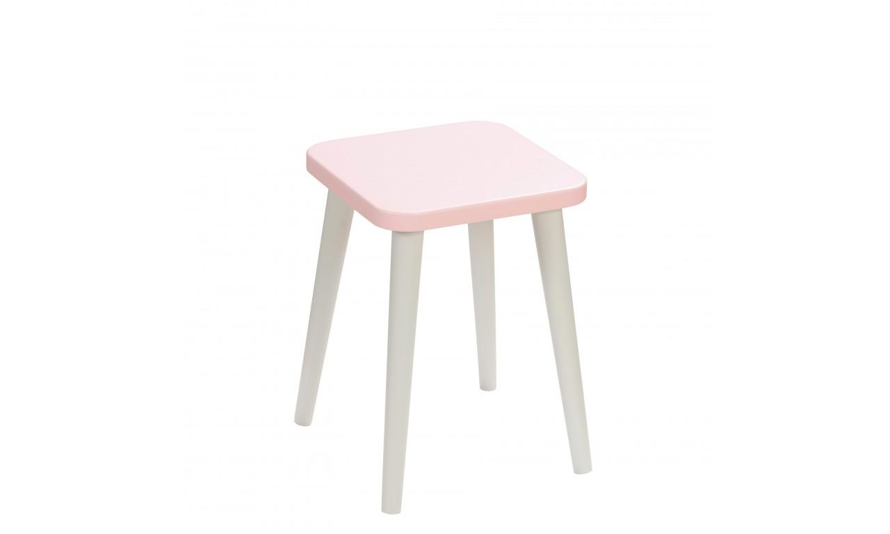 Różowy taboret z kwadratowym siedziskiem 30x30 cm i wys. 41 cm Aurora
