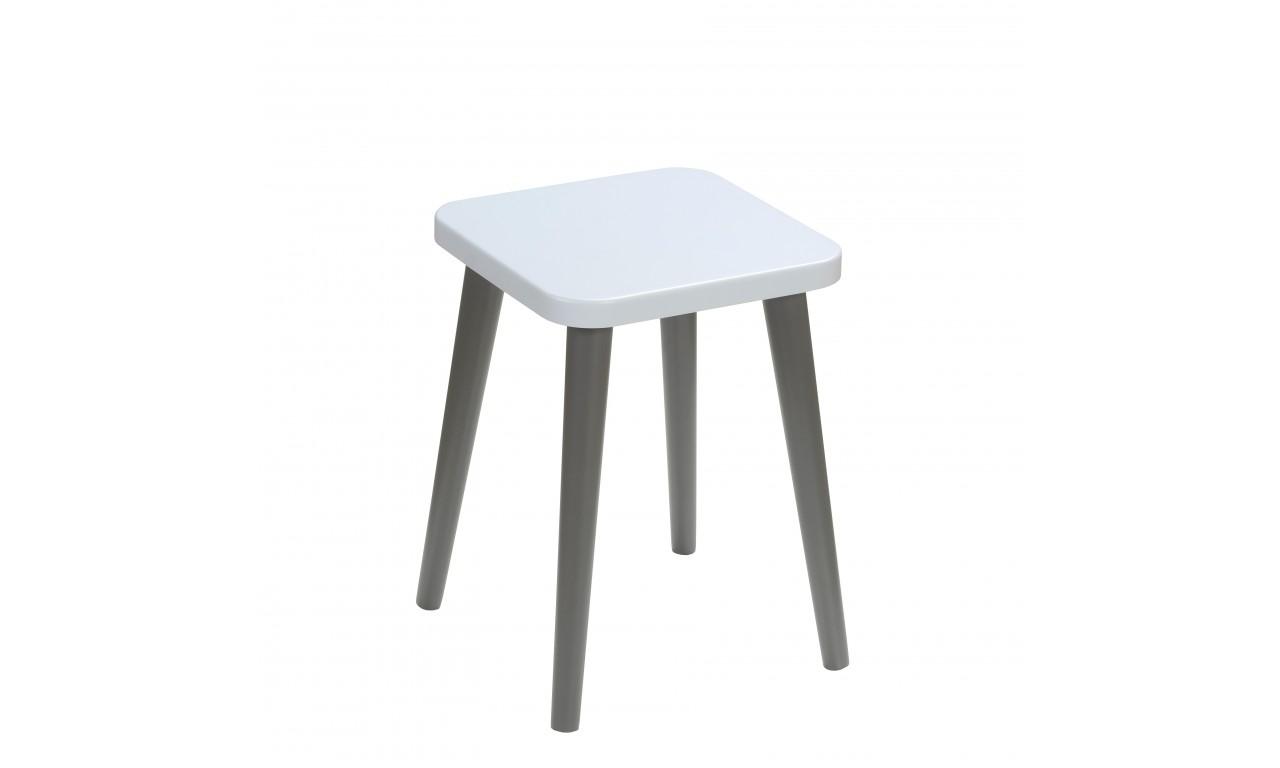Błękitny taboret z kwadratowym siedziskiem 30x30 cm i wys. 41 cm Flynn