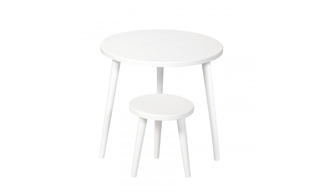 Biały taboret z okrągłym siedziskiem o średnicy 30 cm i wys. 34-41 cm Snow White