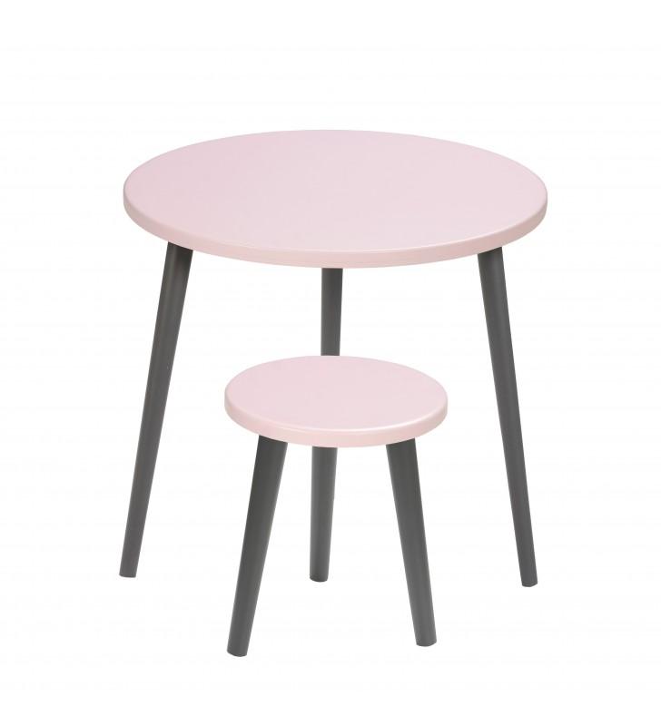 Różowy taboret z okrągłym siedziskiem o średnicy 30 cm i wys. 34-41 cm Aurora