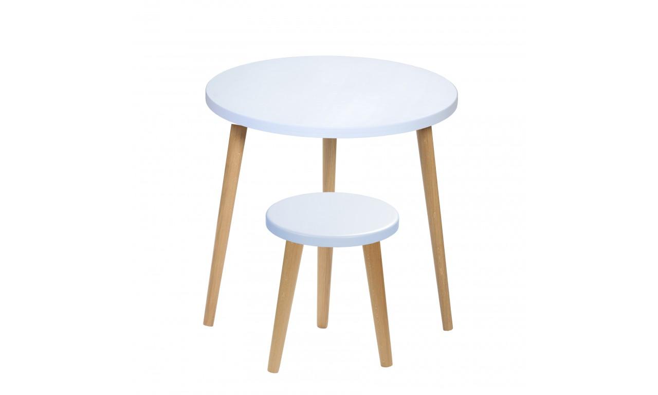 Błękitny taboret z okrągłym siedziskiem o średnicy 30 cm i wys. 34-41 cm Flynn