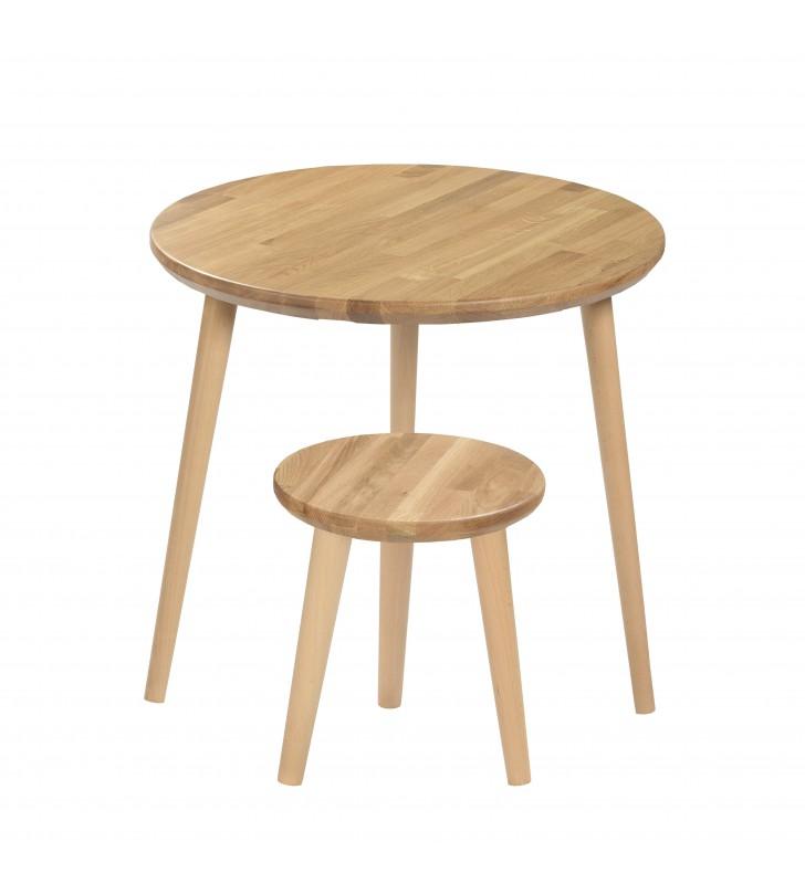 Dębowy, brązowy taboret z okrągłym siedziskiem o średnicy 30 cm i wys. 34-41 cm Kiara
