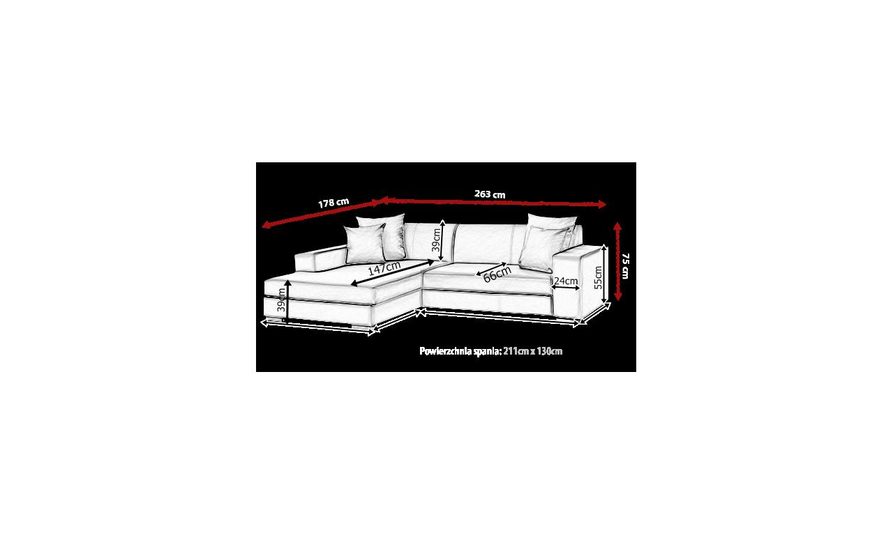 Czarny narożnik z funkcją spania i pojemnikiem na pościel Mexico (c2316)