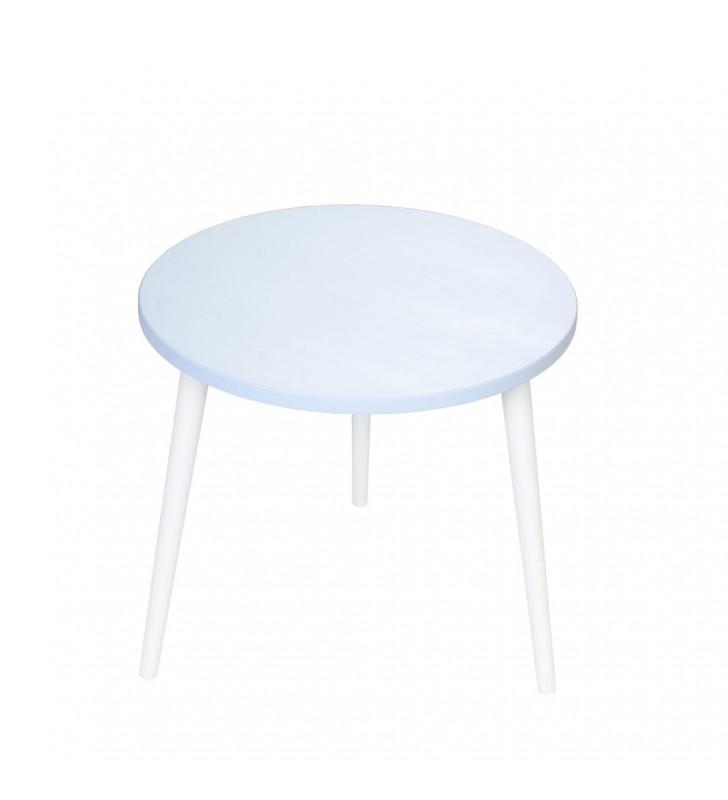 Błękitny stolik ze sklejki, o średnicy 60 cm wys. 54 cm Flynn