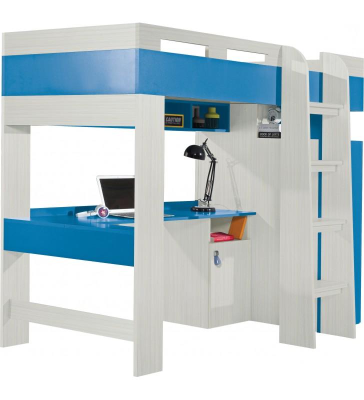 Łóżko piętrowe (90x200 cm) z biurkiem i szafą do pokoju dziecięcego KOMI 20