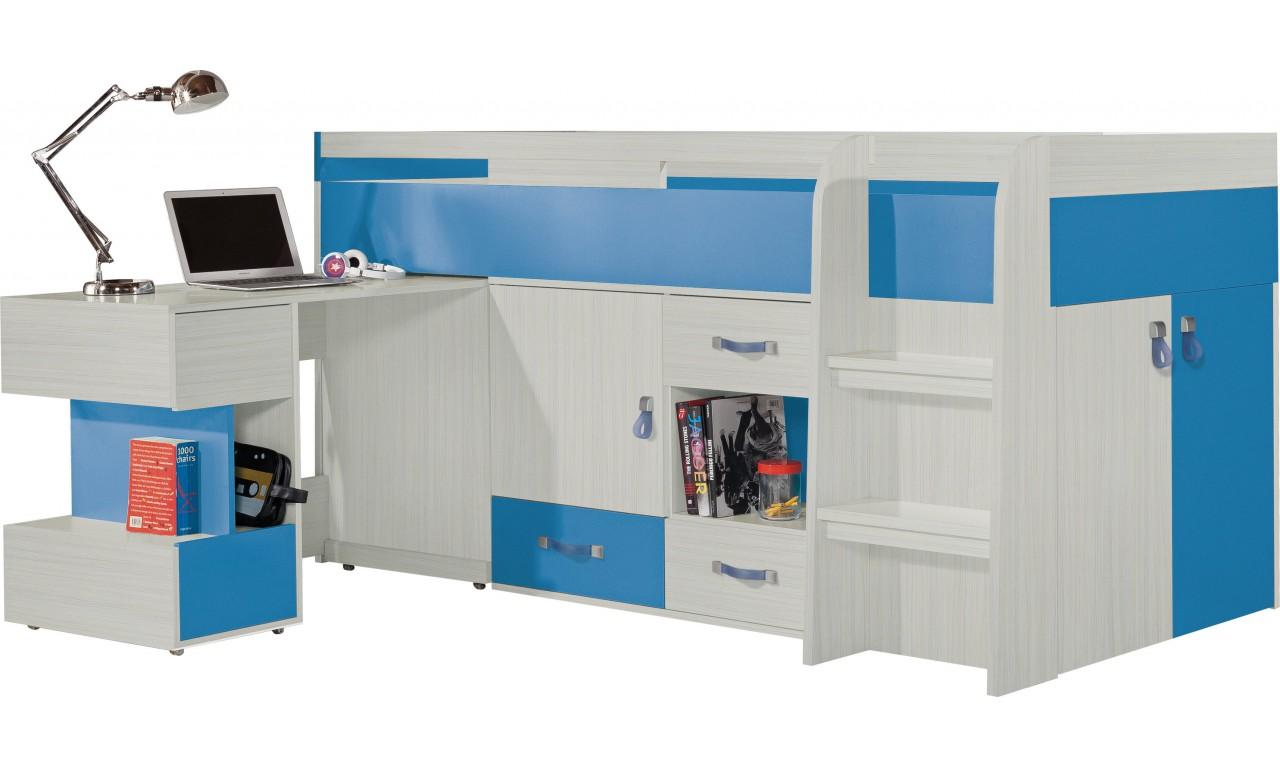 Łóżko piętrowe (90x200 cm) z biurkiem do pokoju dziecięcego KOMI 21