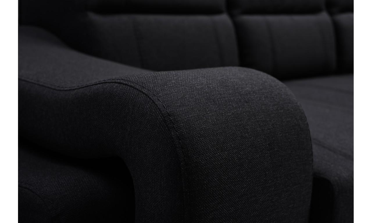 Czarna, rozkładana sofa z pojemnikiem na pościel i dwiema pufami Wenus