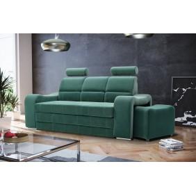 Zielona, rozkładana sofa z pojemnikiem na pościel i dwiema pufami KS29v08