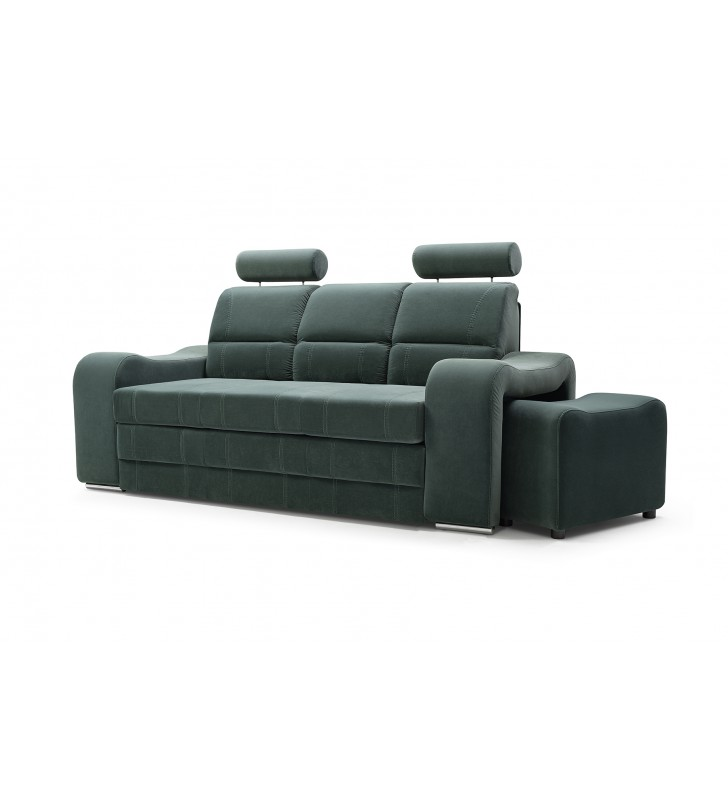 Zielona, rozkładana sofa z pojemnikiem na pościel i dwiema pufami Wenus