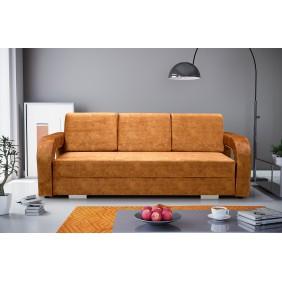 Brązowa, rozkładana sofa z pojemnikiem na pościel KS18t06