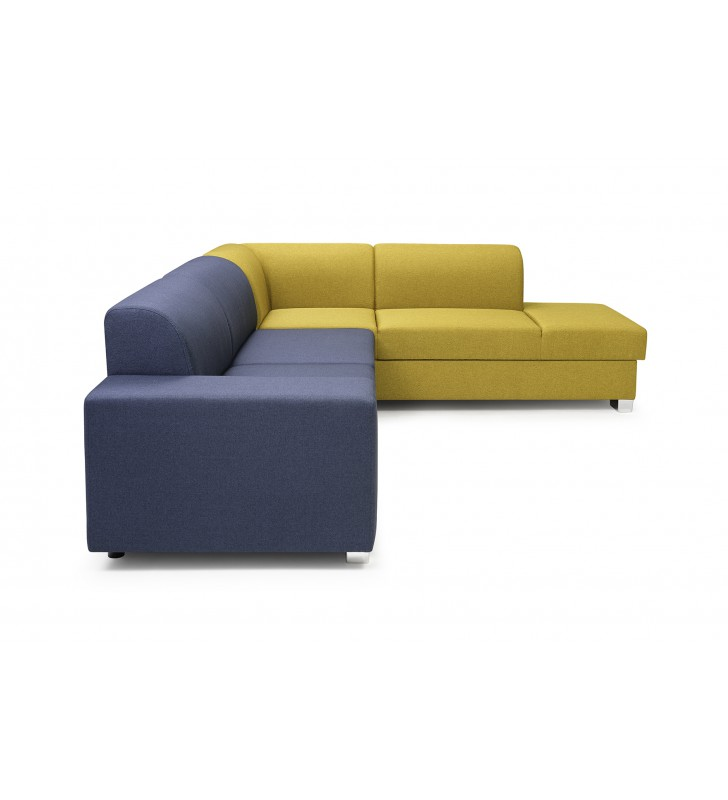 Żółto-niebieski narożnik z funkcją spania i pojemnikiem na pościel D2K