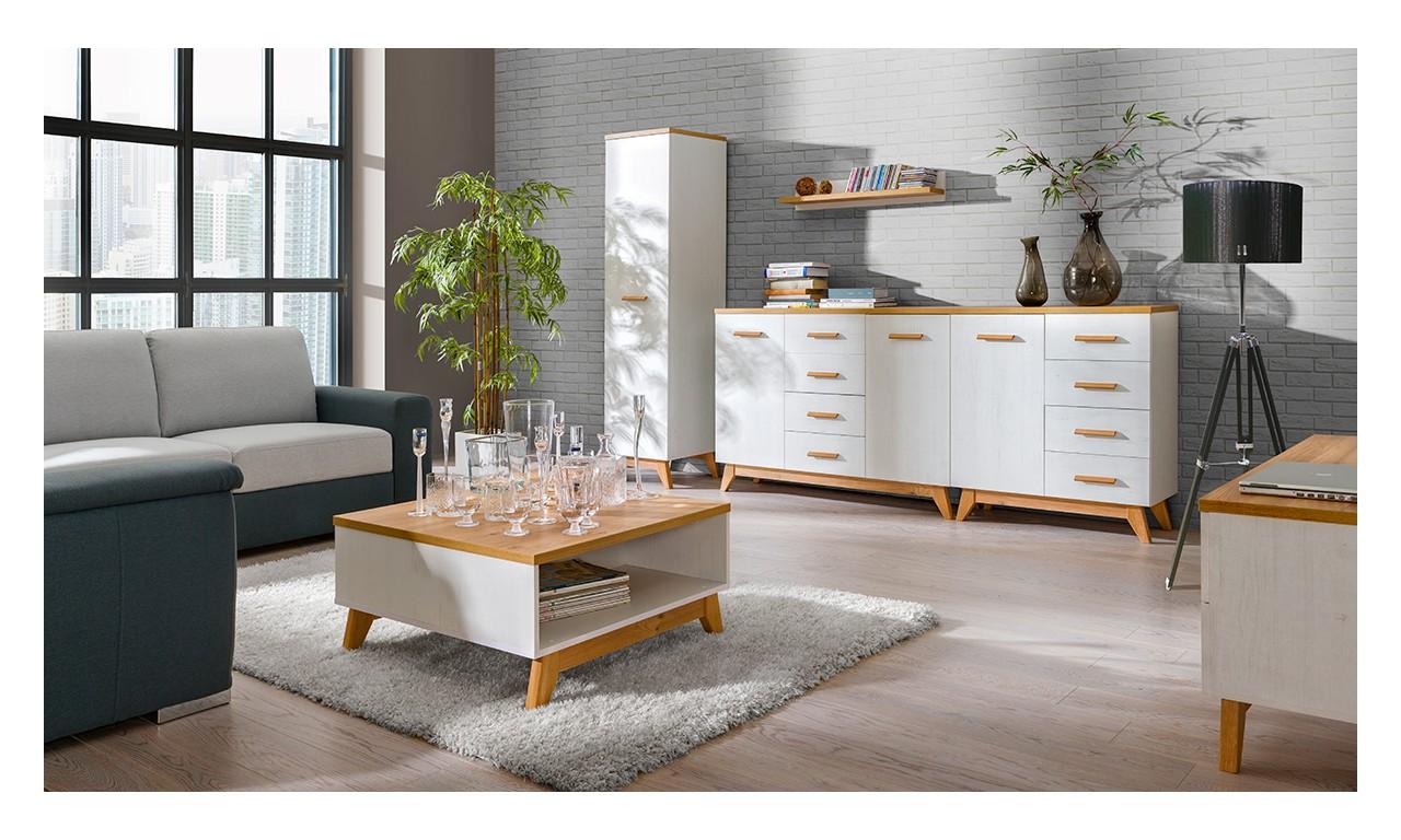 Zestaw białych mebli w stylu skandynawskim do salonu Sven E