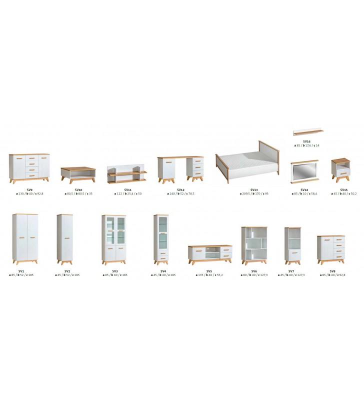 Zestaw białych mebli w stylu skandynawskim do salonu Sven F