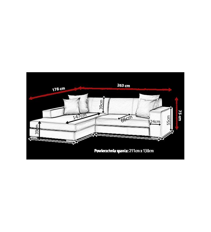 Szary narożnik z funkcją spania i pojemnikiem na pościel Mexico (c2315)