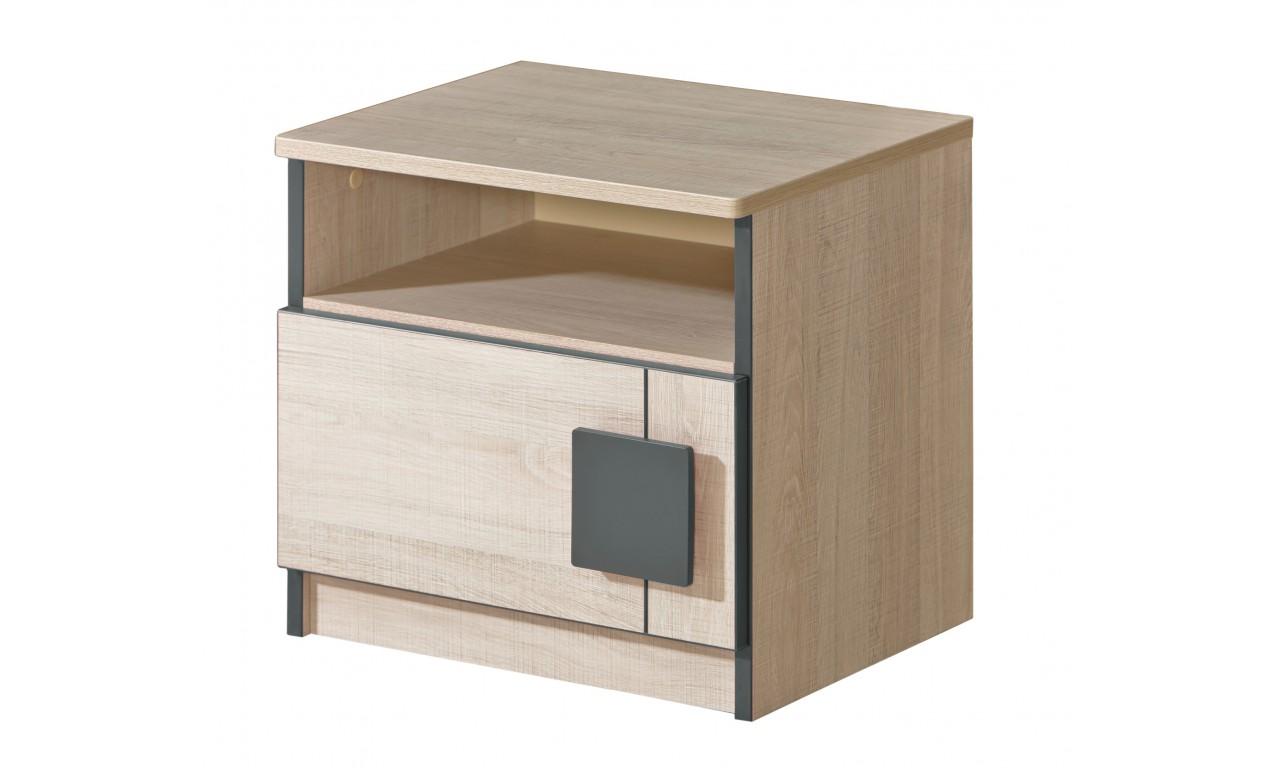 Biało-brązowa lub jasnoszara szafka nocna do pokoju starszego dziecka GUMI G12