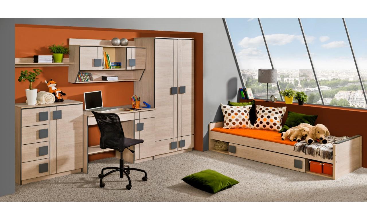 Łóżko piętrowe z szafką i biurkiem GUMI G15