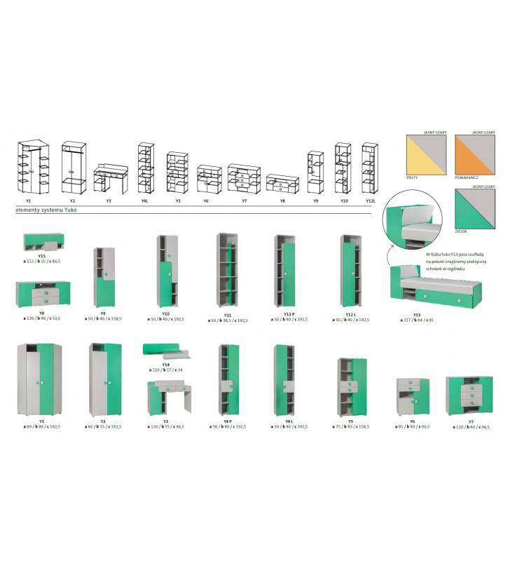 Szafa narożna w kilku propozycjach kolorystycznych YUKO Y1