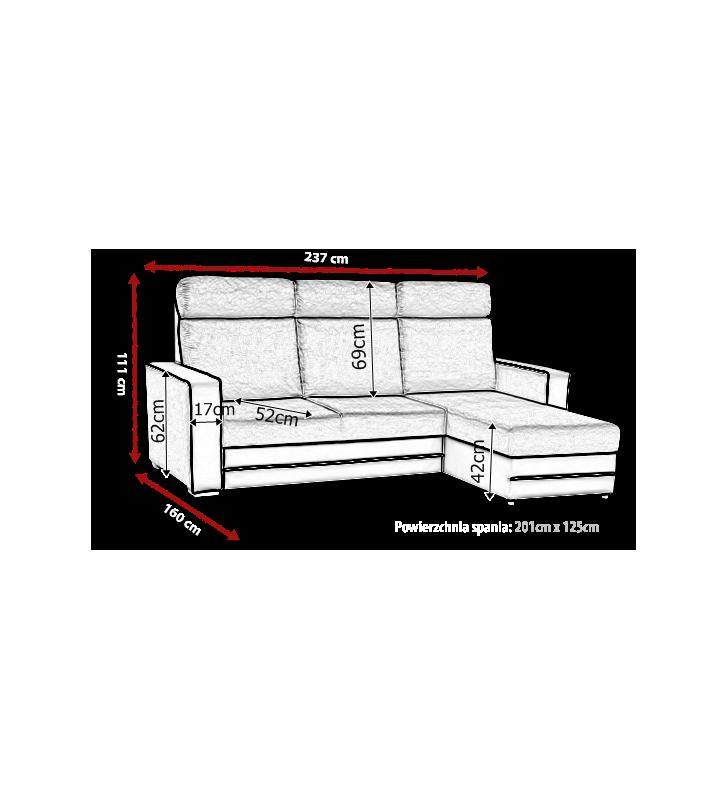 Beżowy narożnik z funkcją spania i pojemnikiem na pościel Maxx (inari23+soft23)